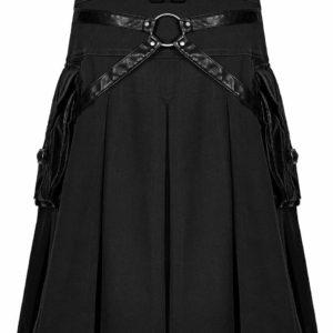Handmade Stylish Men's Gothic Fashion Wedding Kilt Black Leather Pockets
