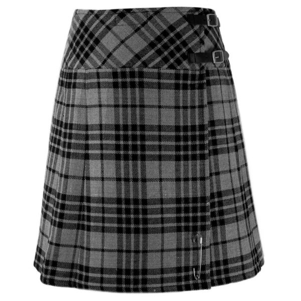 Ladies Knee Length Highland Gray Modern Kilt Tartan plated