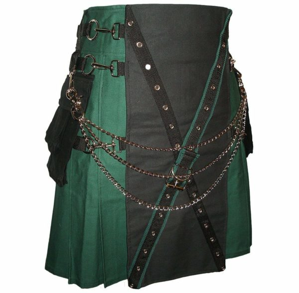 MENS GREEN AND BLACK CANVAS CARGO STYLISH UTILITY KILT