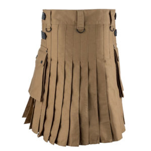 Men Khaki and Black Leather Straps Fashion Sport Utility Kilt