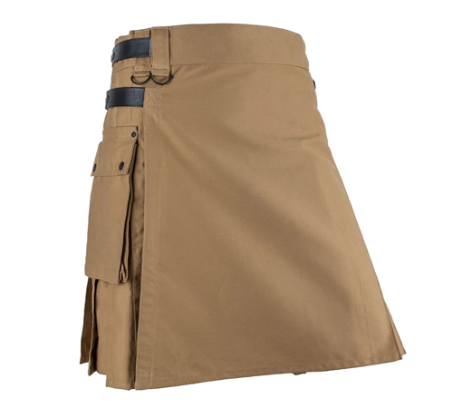 Men Khaki and Black Leather Straps Fashion Sport Utility Kilt1