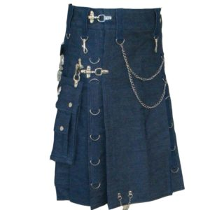 Modern Gothic Style Blue Denim Utility Detatchable Pocket New Kilts With Chains