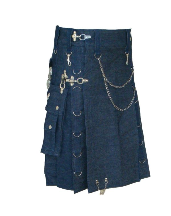 Modern Gothic Style Blue Denim Utility Detatchable Pocket New Kilts With Chains
