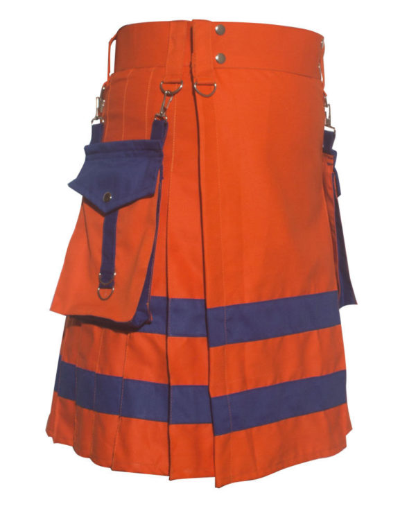 New Handmade Orange Scottish Utility Kilt