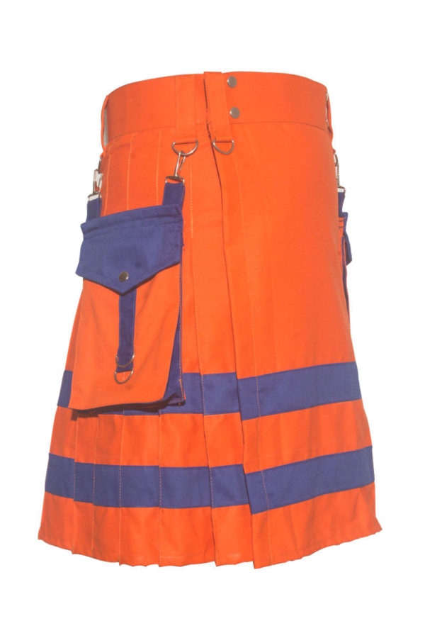 New Handmade Orange Scottish Utility Kilt1