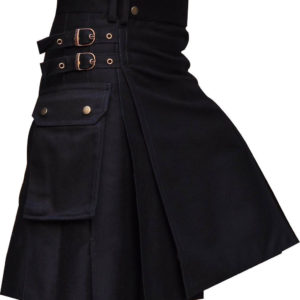 New Mens Black UtilityWedding Kilt Made in 100% Cotton Brass Button