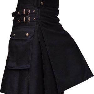 New Mens Black UtilityWedding Kilt Made in 100% Cotton Brass Button