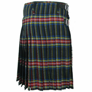 Scottish Mens Black Stewart Tartan Kilt