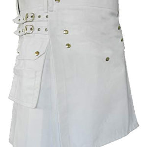 White Leather Strap Utility Kilt For Active Man Kilt Wedding Kilts2