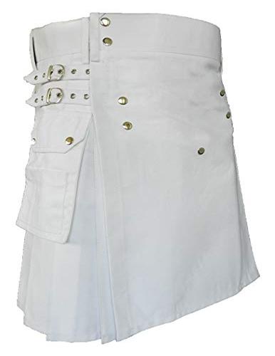 New Modern Black Wedding Utility Kilt For Men Active Men Kilts 4 Button Front