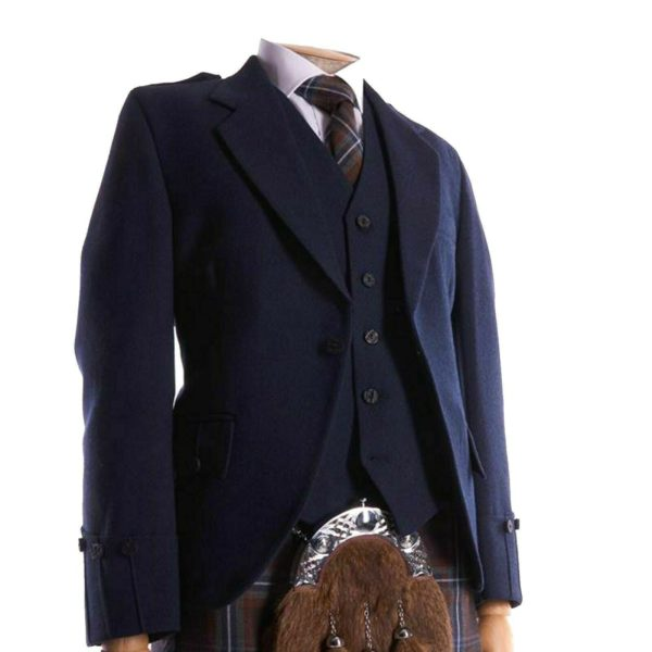 Men's Scottish Navy Blue Wool Argyle Kilt Jacket