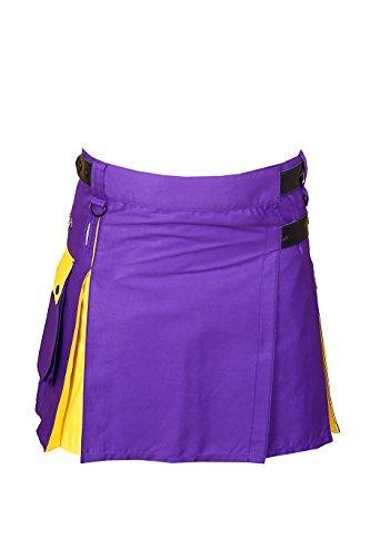 Hybrid Utility Kilt For Men Purple & Yellow1