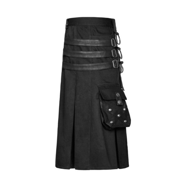 MEN UTILITY KILT BLACK KILT GOAT LEATHER STRAPS.1