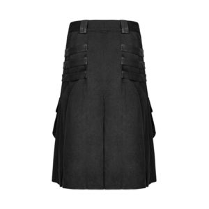 MEN UTILITY KILT BLACK KILT GOAT LEATHER STRAPS.