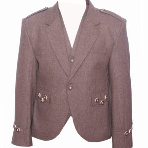 New Brown Trendy Scottish Tweed Argyle Kilt Jacket With WaistcoatVest