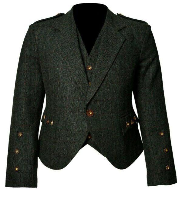 Trendy Scottish Tweed Argyle Kilt Jacket With Waistcoat Vest