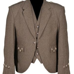 Brown Scottish Tweed Argyle Kilt Jacket With 5 Button Vest