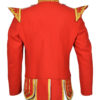 Gold Braid Trim Red Military Doublet Pipe Band Jacket
