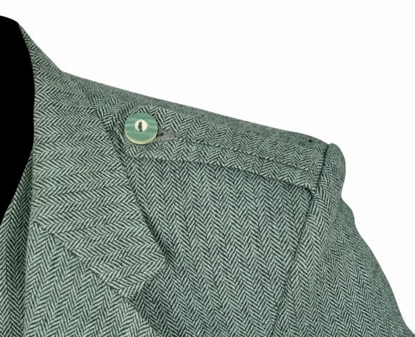 Lovat Green Tweed Argyle Kilt Jacket Button Vest