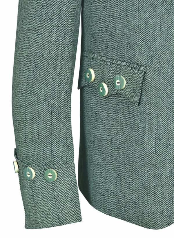 Lovat Green Tweed Argyle Kilt Jacket With 5 .Button Vest