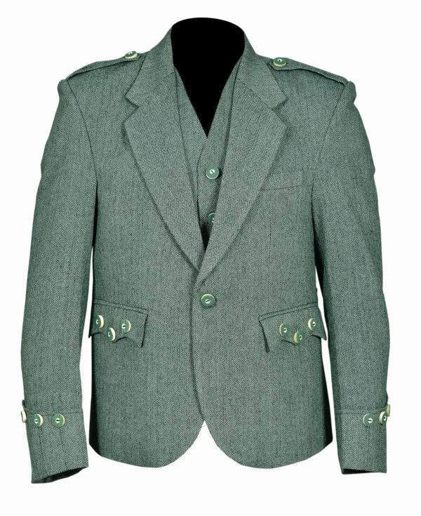 Lovat Green Tweed Argyle Kilt Jacket With 5 Button Vest