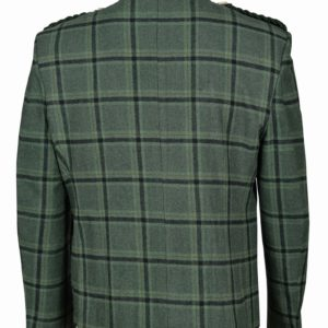 Traditional Style Lovat Green Tweed Argyle Kilt Jacket With 5 Button Vest..