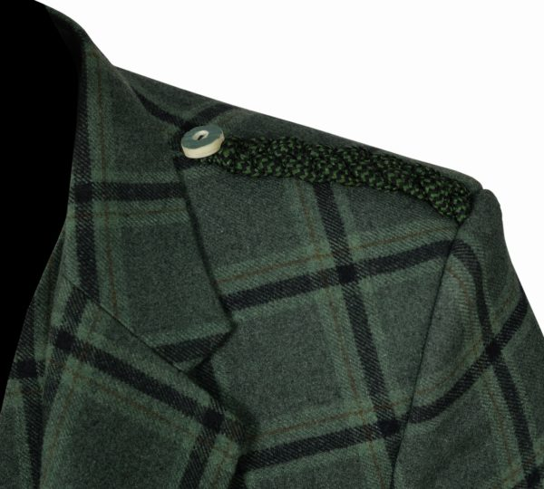 Traditional Style Lovat Green Tweed Argyle Kilt Jacket With 5 Button Vest…..