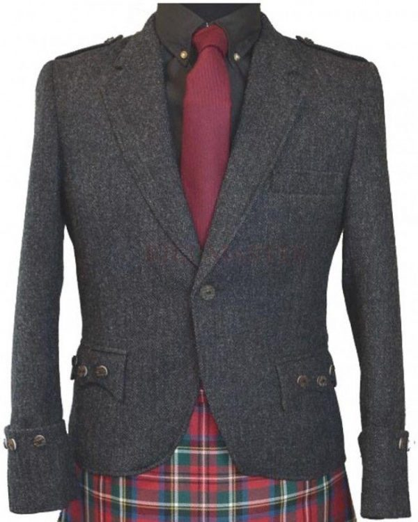 Dark Grey Tweed Argyle Jacket