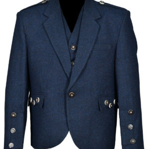 Blue Tweed Crail Highland Kilt Jacket and Waistcoat
