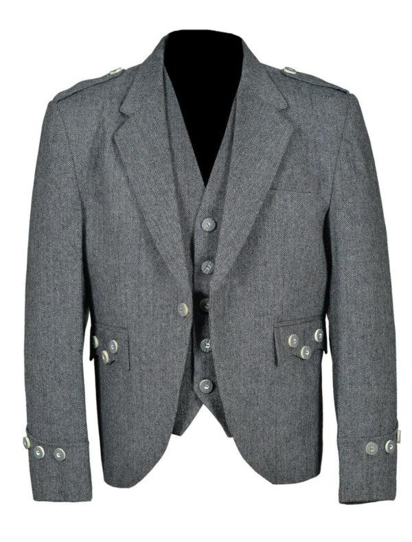 Men's Tweed Crail Highland Kilt Jacket &  Vest  Scottish Wedding Dress
