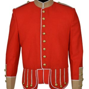 Brand New 100% Wool Blend white Trim Red Military Doublet Pipe Band Jacket