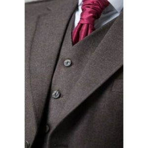 Men Brown Wool Scottish Kilt Jacket with Waistcoat