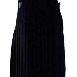 solid black tartan kilt