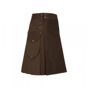 New Scottish Men Cargo Brown Utility Kilt For Sale