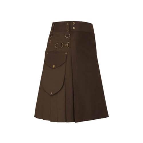New Scottish Men Cargo Brown Utility Kilt For Sale
