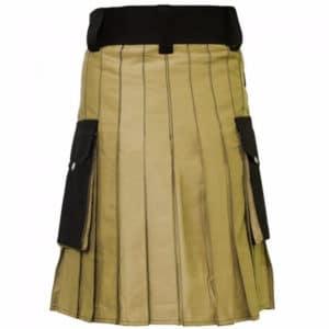 Stylish Two Toned Khaki & Black Utility Kilt