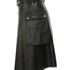 Black Leather Kilt With Stylish Pockets