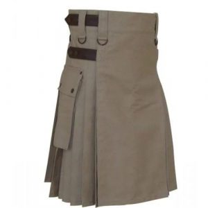 Khaki Men Leather Straps Utility Kilt