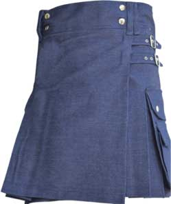 newBuy Ladies Blue Denim Utility Kilt