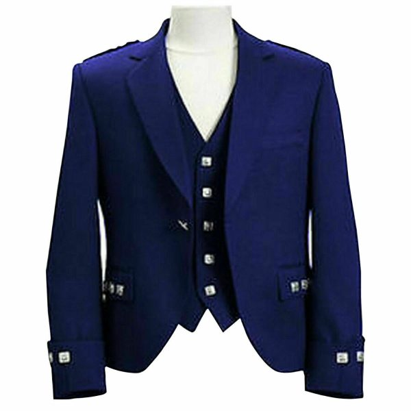 Argyle kilt Jacket & Waistcoat/Vest,Scottish Argyle Jacket Blue Blazer Wool