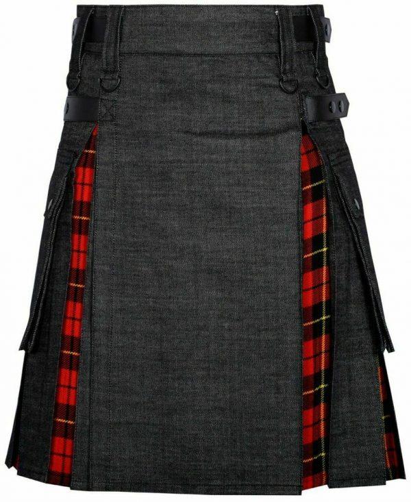 Men Hybrid Black Denim & Tartan Scottish Kil