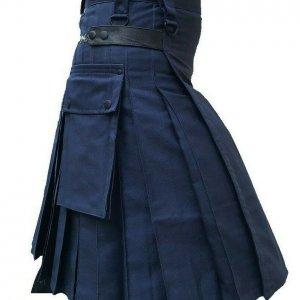 Men's Navy Blue 100% Genuine Leather Straps Fashion Sport Utility Kilt