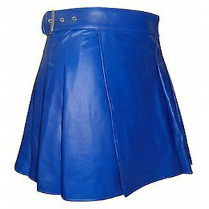 2020 Buy New Women Blue leather utility kilt Scottish kilt