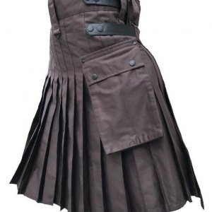 Men's Brown Genuine Leather Straps Fashion Sport Cotton Utility Kilt