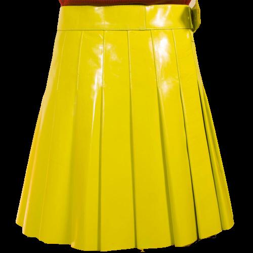 2020 New Christmas Yellow Kiltish Women Leather utility Kilt
