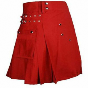 New women Custom Made Red Scottish Irish Utility Kilt Features: All available colors according to customer need Used Two Pockets For Storage Swen Down All Plates Designed By All Kiltishworld Custom Made Kilt