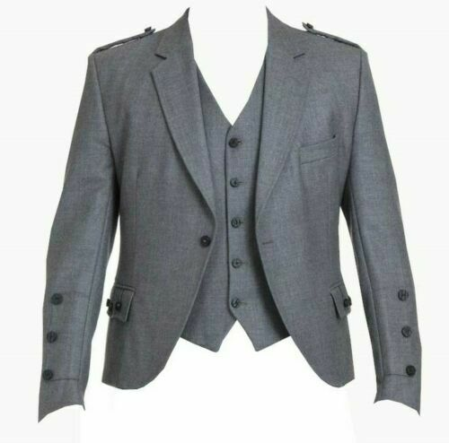 Light Grey Argyle Kilt Jacket and 5 -button waistcoat