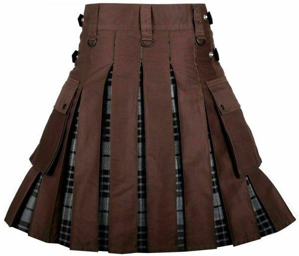 Men's High Quality Utility Hybrid Kilt- Brown Cotton and Gray Tartan
