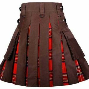 Men's High Quality Hybrid Kilt- Brown Cotton and Royal Stewart Tartan