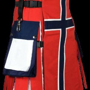 NORWEGIAN FLAG COTTON HYBRID UTILITY KILT FOR MAN